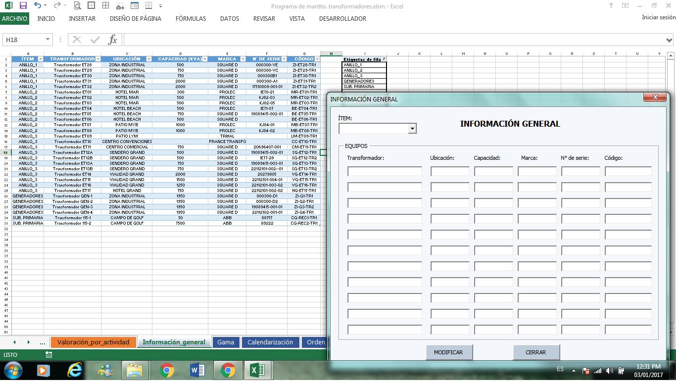 formularios base de datos en Excel