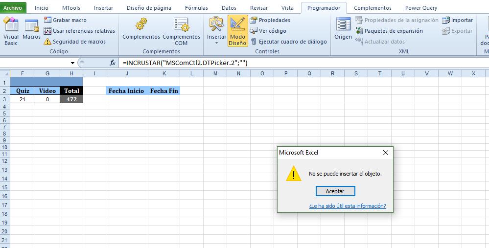 insertar control fecha en celda Excel