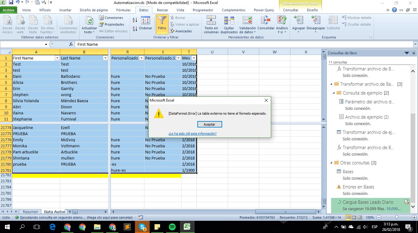 [DataFormat.Error]la tabla externa no tiene el formato esperado