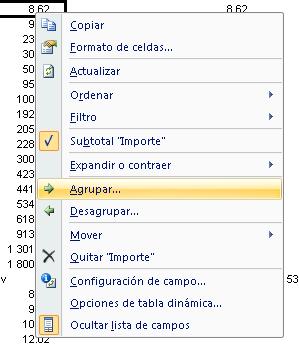agrupar valores de categorías en una tabla dinámica