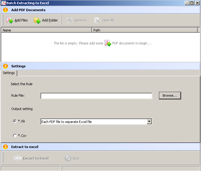 conversión por lotes. Pasar de pdf a Excel