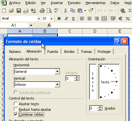 combinar celdas en Excel es igual en la versión 2003 y en la versión 2007