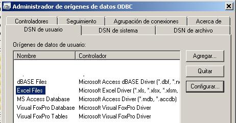 configurar el driver odbc de Excel para MS Query