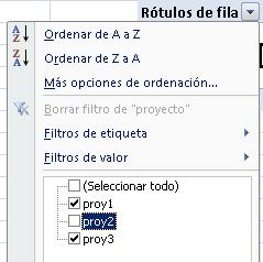 filtrado de categoría en la tabla dinámica