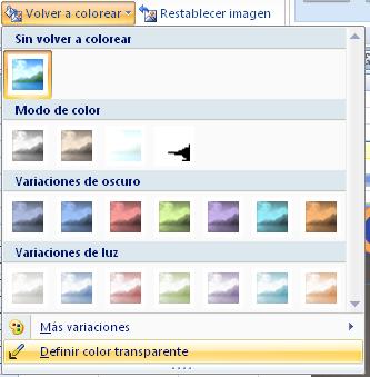 definir un color como transparente para una imagen en Excel