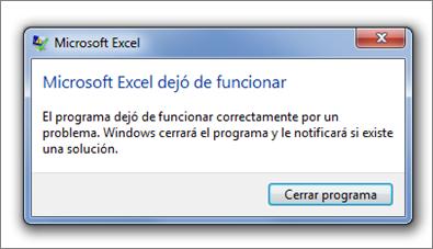 Excel dejó de funcionar