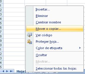 mover o copiar hojas en Excel con las opciones de la pestaña