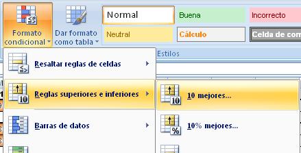 formato condicional en Excel para destacar el valor máximo