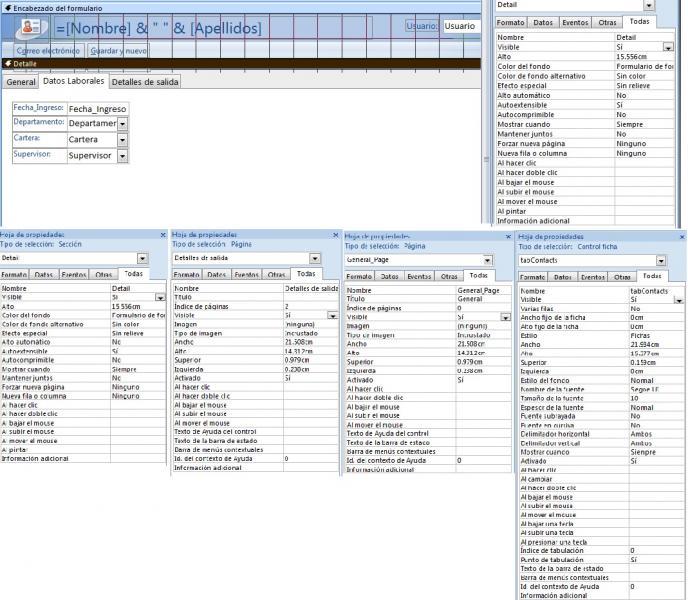 propiedades de las paginas y el detalle del formulario