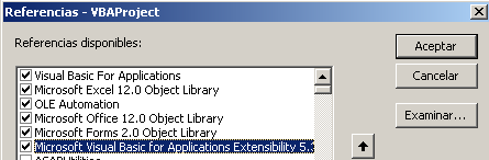 Referencia a visual basic for applications extensibility