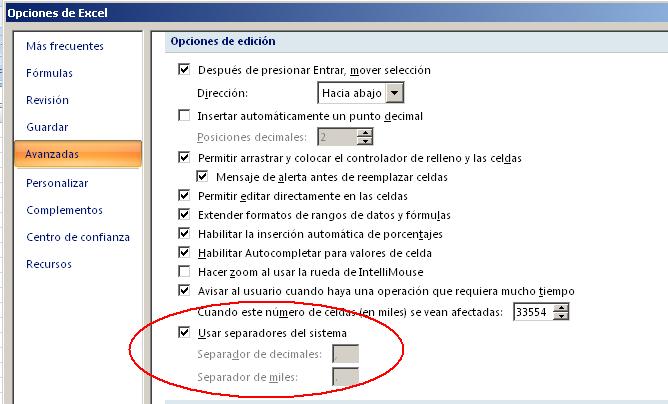 configurar separadores diferentes a los del sistema