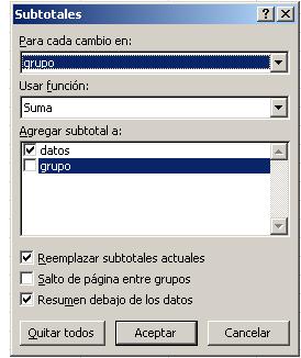 Inserción automática de subtotales intercalados con los datos