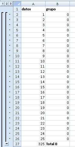 automáticamente se crea el esquema en el documento y se insertan las funciones SUBTOTALES