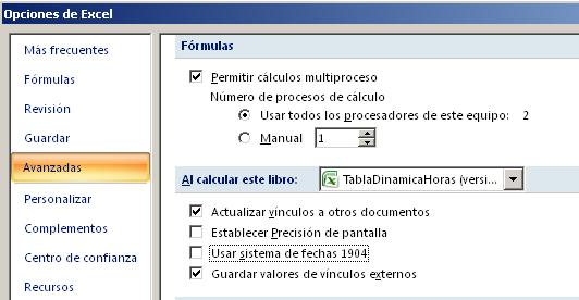 sistema de fechas en Excel, 1904 para trabajar con MAC