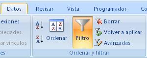 El filtro está activo por defecto en una tabal de Excel