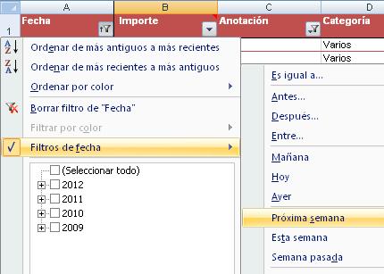 ejemplo de posibilidades de filtro para una columna de fechas en una tabla Excel