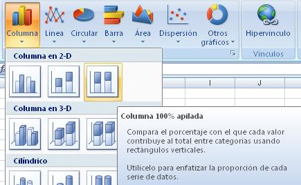 gráfico de barras apiladas 100% en Excel