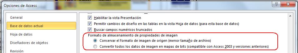 opciones de formato de imagen en formularios e informes de Access