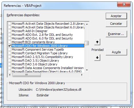 activar referencia a dll de CDO para enviar emails desde VBA