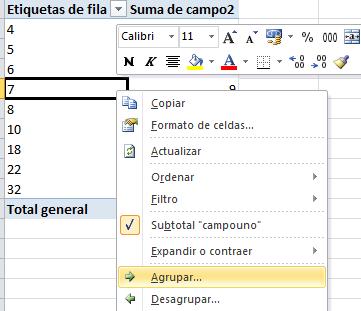 agrupar por valores numéricos en categoría de tabla dinámica en Excel