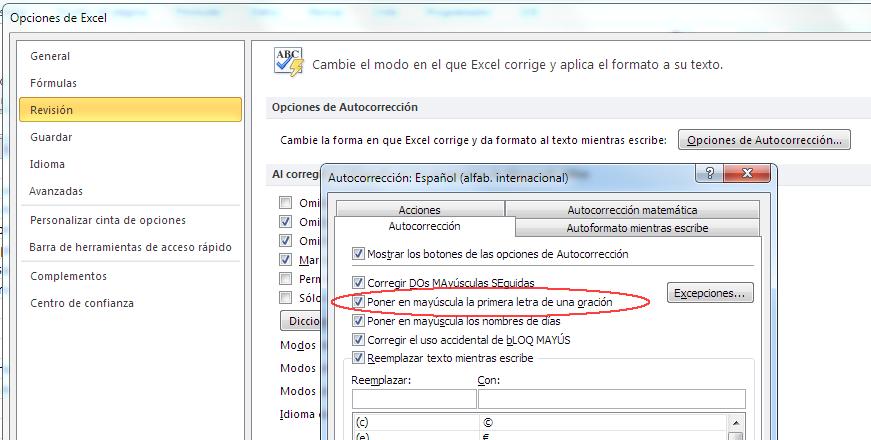 opciones de autocorrección en Excel