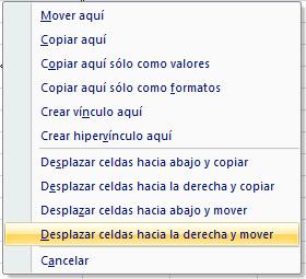 opciones arrastrar celdas con el botón derecho del ratón en Excel