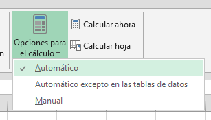 opciones para cálculo automático en Excel 2010, 2013, 365