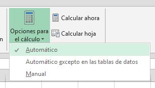 opciones para cálculo automático en Excel 2010, 2013, 365