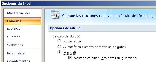 configuración de las opciones de cálculo en Excel