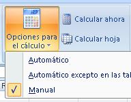 configuración de las opciones de cálculo en la cinta de opciones de Excel