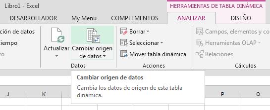 cambiar origen de datos en tabla dinámica de Excel