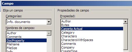 insertar campo docProperty propiedad del documento en Word