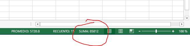 suma automática de celdas seleccionadas Excel