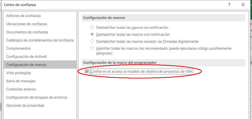 Excel confiar acceso modelo vba