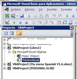 hacer doble clic sobre un objeto en el explorador de proyectos VBA abre su código asociado