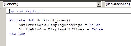 Código en el evento Open para que se ejecute al abrir el libro