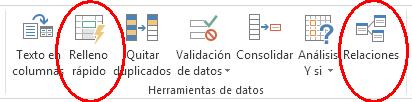 herramientas de datos, relleno rápido, relaciones entre tablas en Excel 2013