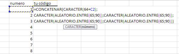 fórmula con referencia a la celda de al lado