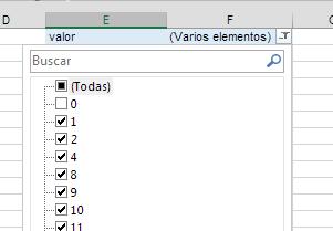 Aplicar filtro para quitar elementos de la tabla
