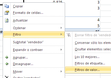 filtro de valor en tabla dinámica en Excel