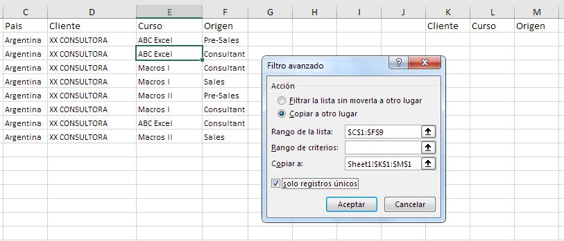 Excel filtro avanzado. extraer registro únicos