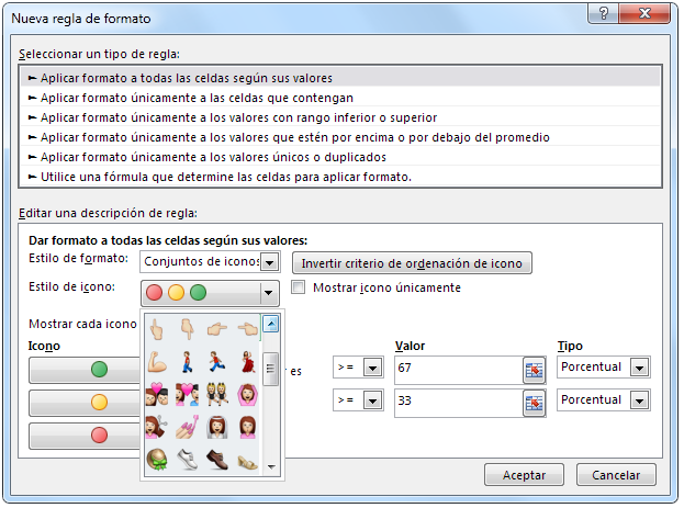emoticonos del whatsapp en Excel