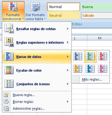 aplicamod formato condicional tipo Barras de Datos
