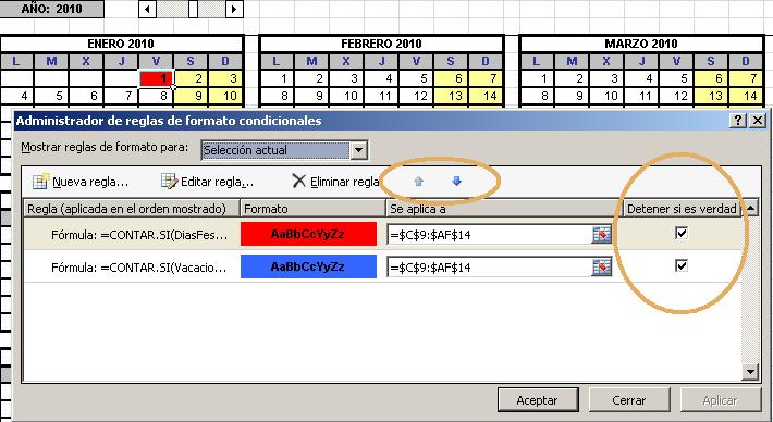 reordenar criterios de formato condicional en Excel