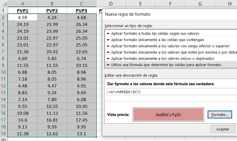 formato condicional por filas en Excel