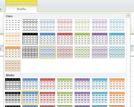 formatos predefinidos de tabla