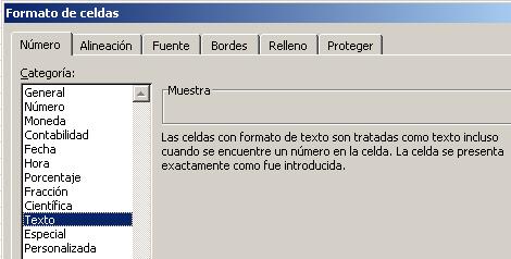 formato de celdas como texto en Excel.