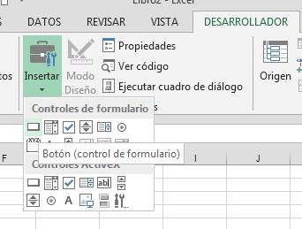 insertar control de formulario en Excel