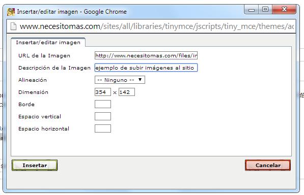 formulario para insertar imagen