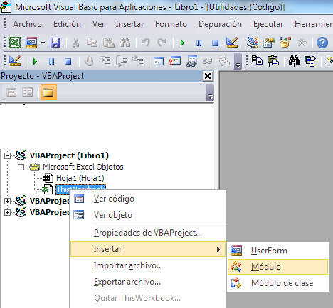 insertar un módulo para código en VBA